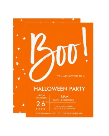 Boo typography orange Halloween party stars Invitation