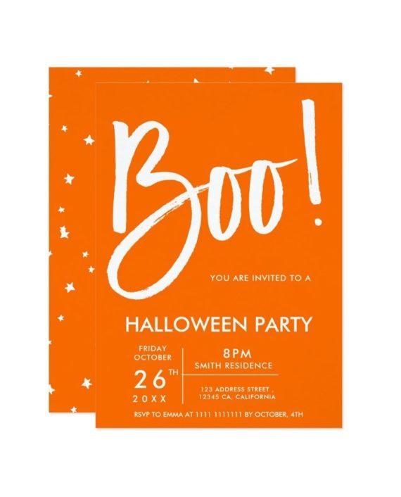 Boo typography orange Halloween party stars Invitation