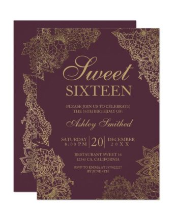 Bordeaux gold floral elegant Sweet sixteen Invitation