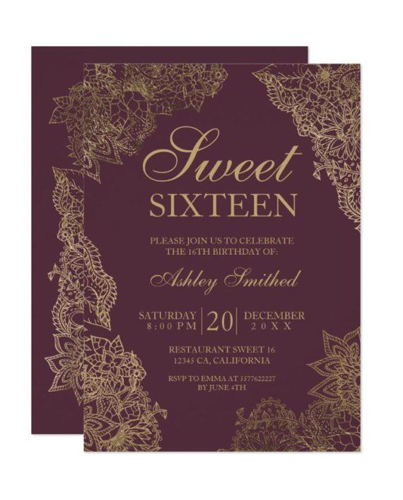 Bordeaux gold floral elegant Sweet sixteen Invitation