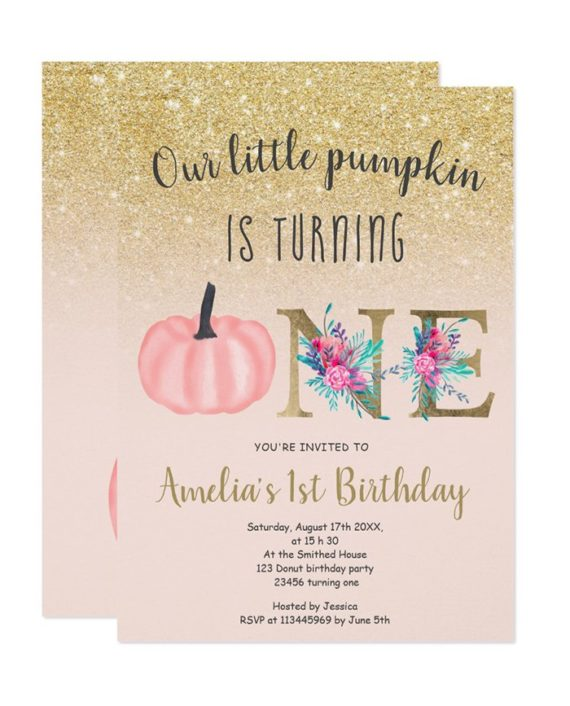 Cute fall gold glitter little pumpkin 1st birthday invitation