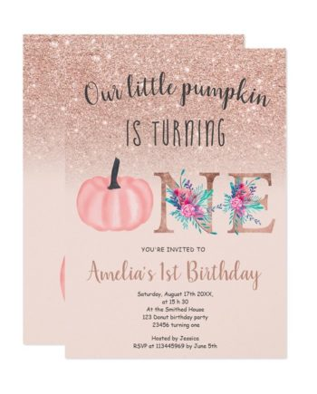 Cute fall rose gold glitter little pumpkin 1st birthday invitation