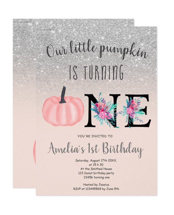 Cute fall silver glitter little pumpkin 1st birthday invitation