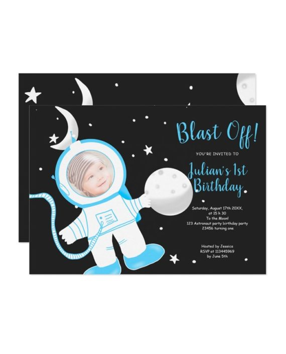 Cute funny astronaut boy blue 1st birthday party invitation