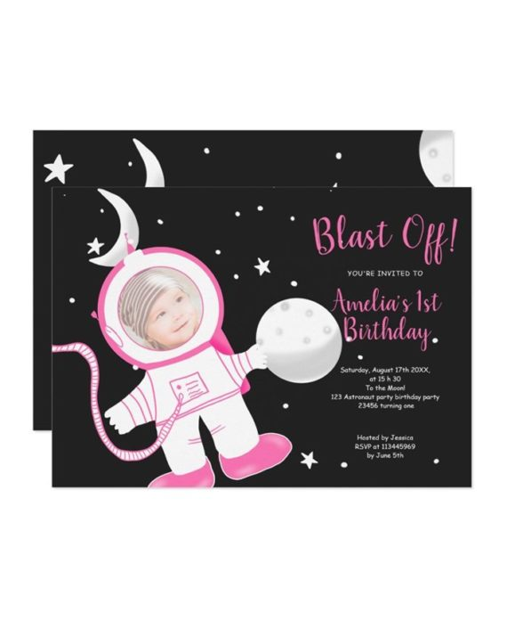 Cute funny astronaut girl pink 1st birthday party invitation