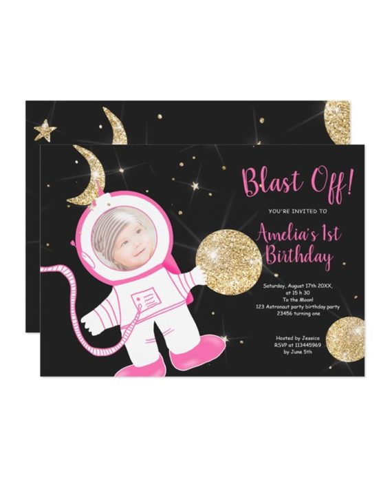 Cute funny astronaut girl pink gold glitter 1st birthday party invitation