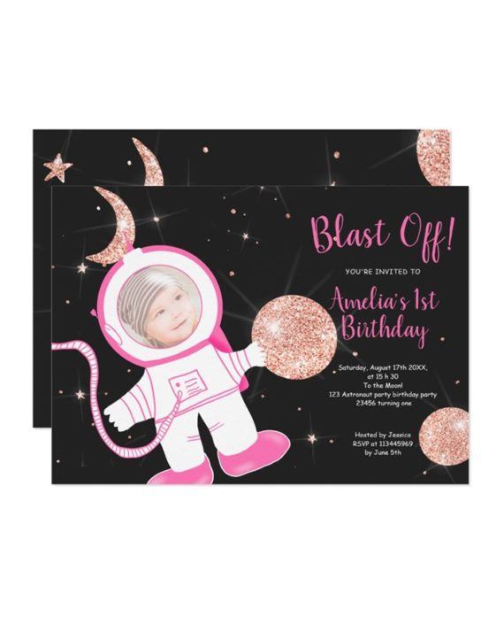 Cute funny astronaut girl pink rose gold glitter 1st birthday party invitation