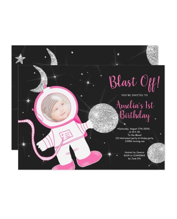 Cute funny astronaut girl pink silver glitter 1st birthday party invitation