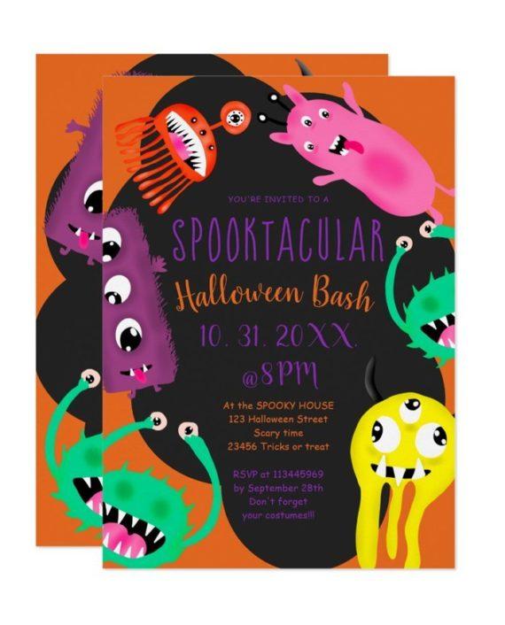 Cute monsters illustration halloween party invitation