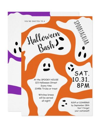 Cute white ghosts orange purple Halloween bash Invitation