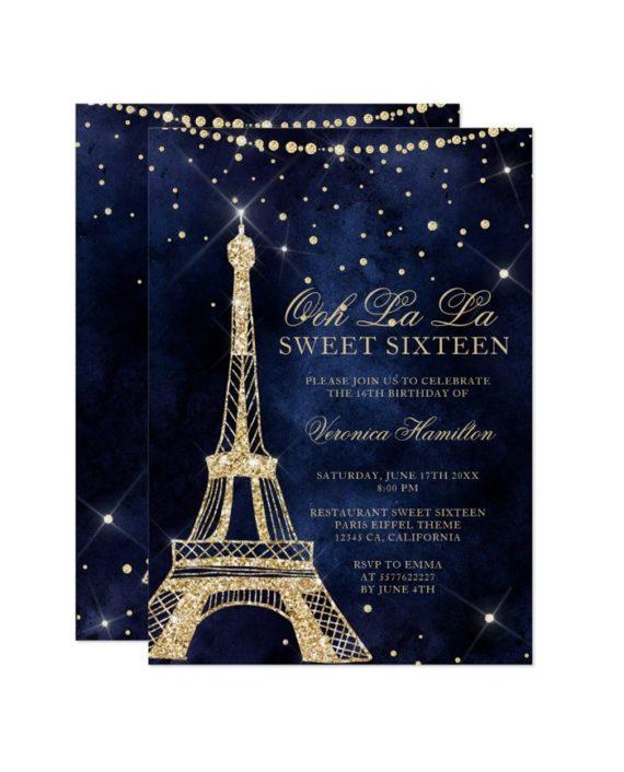 Eiffel tower gold glitter navy blue Sweet 16 Invitation printable
