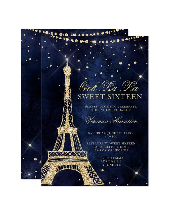 picture regarding Printable Sweet 16 Invitations identified as Eiffel tower stylish gold glitter sparkle Lovable 16 printable invitation
