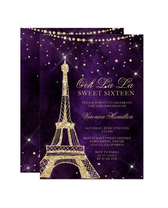 Eiffel tower gold glitter purple Sweet 16 Invitation printable