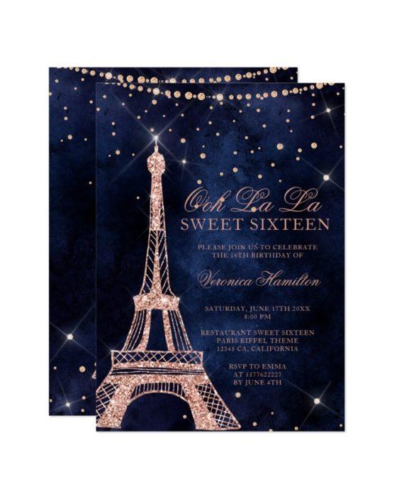 Eiffel tower rose gold glitter navy blue Sweet 16 Invitation printable