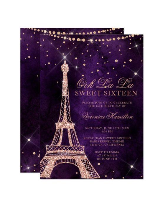 Eiffel tower rose gold glitter purple Sweet 16 Invitation printable