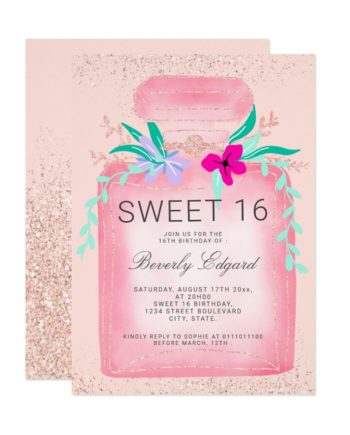 Fashion perfume bottle rose gold glitter chic floral Sweet 16 Invitation preview