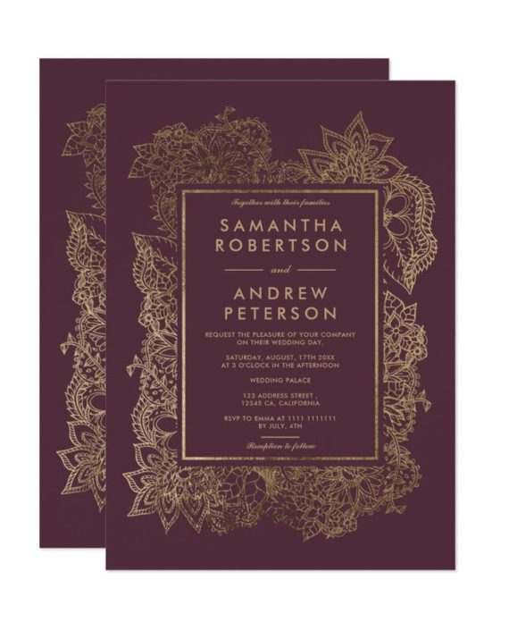 Floral gold foil geometric burgundy wedding invitation