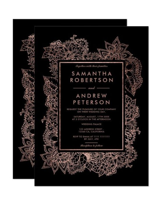 Floral rose gold foil geometric black wedding invitation