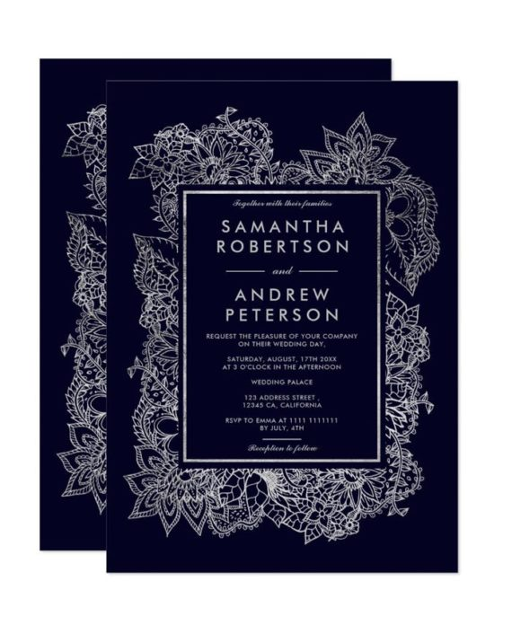 Floral silver foil geometric navy blue wedding invitation