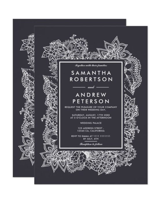 Floral white geometric gray wedding invitation