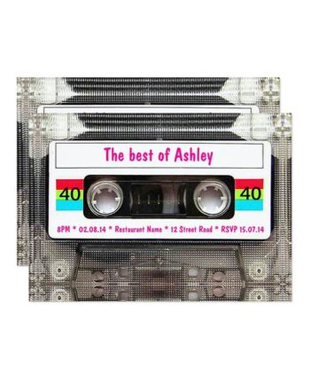 Funny DJ 80s Cassette Tape 40th Birthday Invitation preview