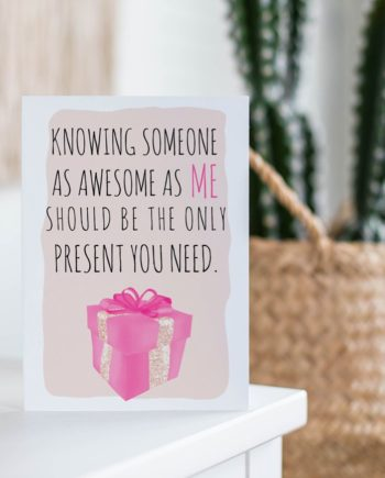 Funny birthday quote present pink illustration card preview