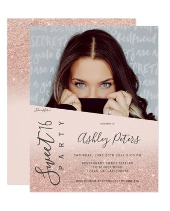 rose Glitter girly typography blush photo Sweet 16 Invitation preview