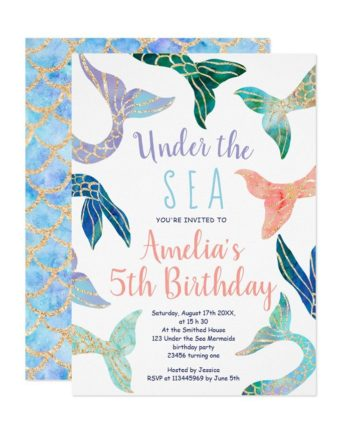Glitter mermaid under the sea pastel 5th birthday invitation