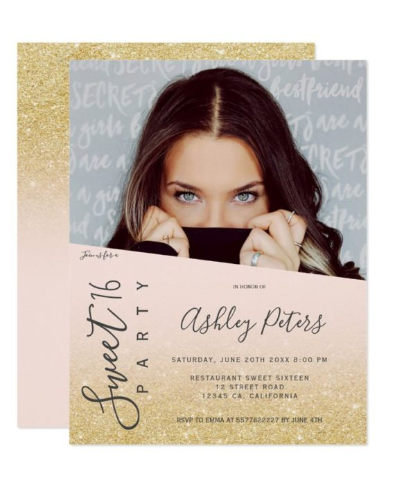 gold Glitter girly typography blush photo Sweet 16 Invitation preview