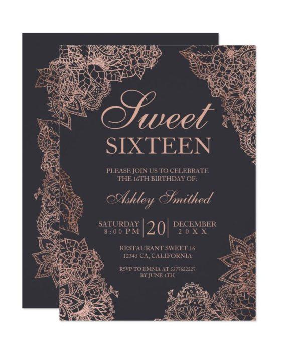 Grey rose gold floral elegant Sweet sixteen Invitation
