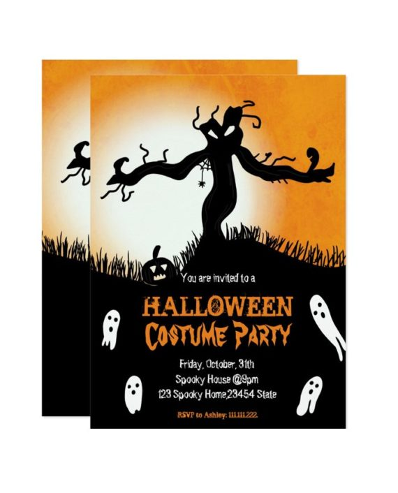 Halloween Costume Party spooky tree ghosts pumpkin Invitation preview