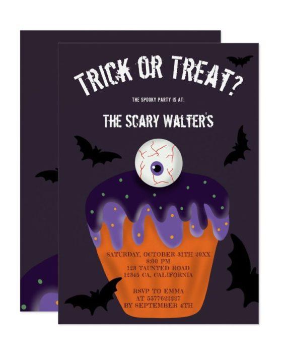 Halloween eyeball cupcake treat or trick party invitation printable
