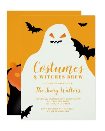 Halloween ghost orange bats costume party invitation