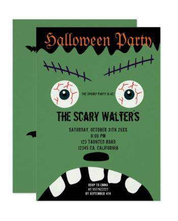 Halloween green monster eyeball face party invitation