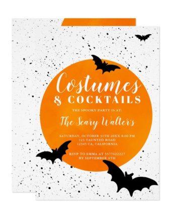 Halloween orange moon bats splatters cocktails invitation