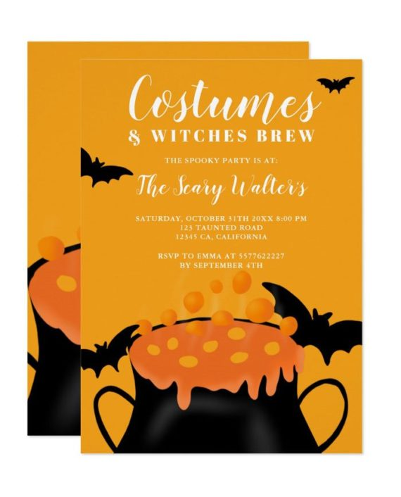 Halloween orange potion bats costume party invitation