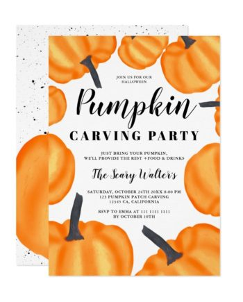 Halloween orange pumpkin carving party patch invitation
