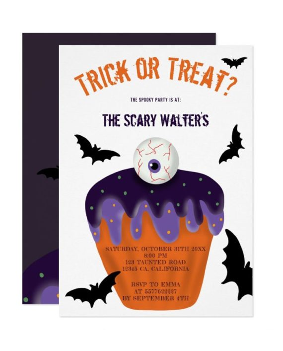 Halloween treat or trick eyeball cupcake party invitation