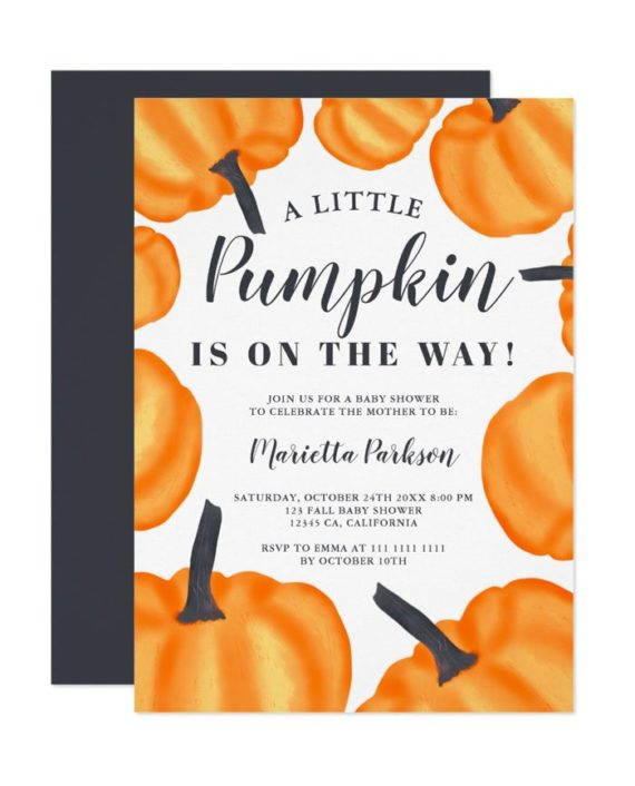 Little pumpkin pattern orange fall baby shower invitation