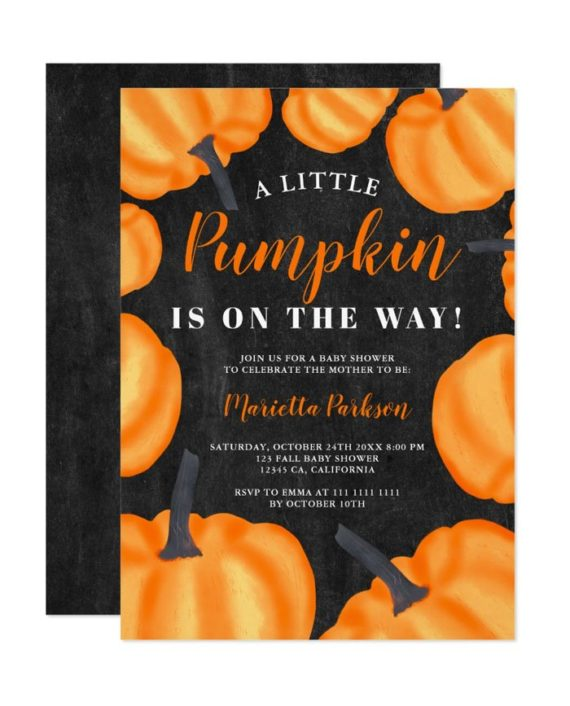 Little pumpkin pattern orange fall baby shower invitation chalkboard