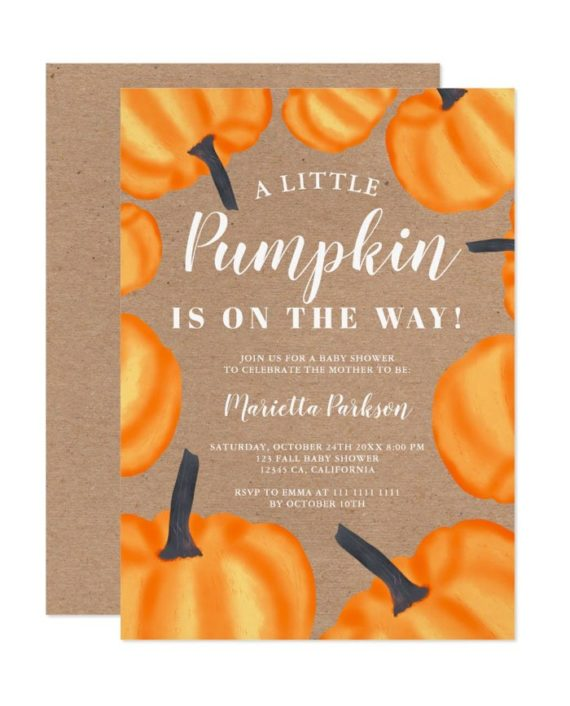 Little pumpkin pattern orange fall baby shower invitation kraft