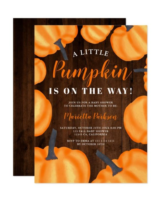 Little pumpkin pattern orange fall baby shower invitation wood