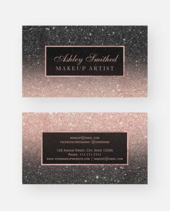Modern black rose gold glitter chic ombre makeup business card