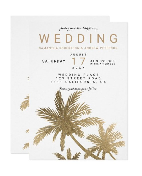 Modern faux gold palm trees elegant wedding invitation