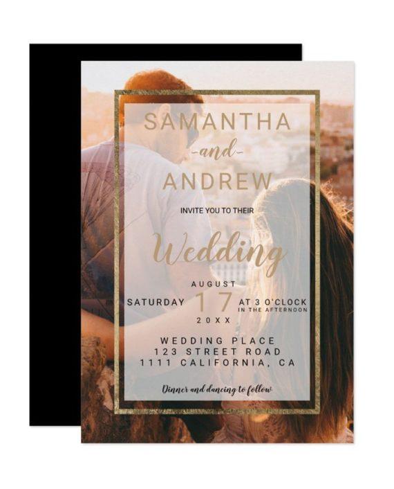 Modern gold monogram photo script wedding invitation