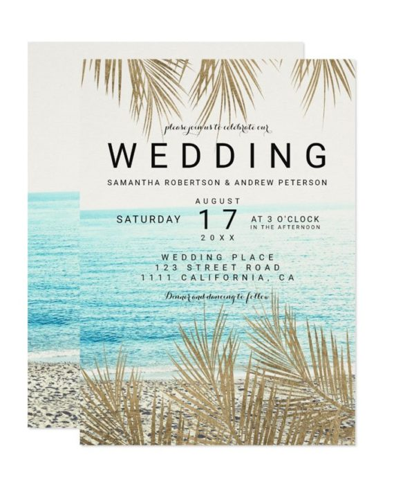 Modern gold palm tree elegant beach photo wedding invitation