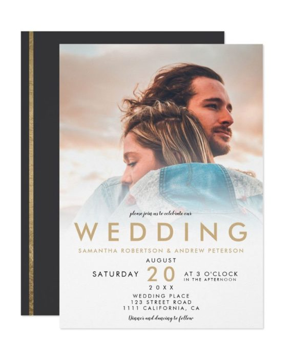 Modern gold white ombre simple photo wedding invitation