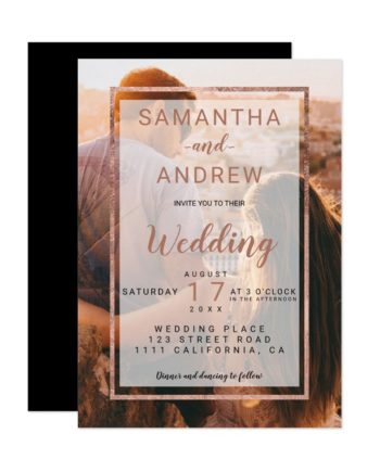Modern rose gold monogram photo script wedding invitation
