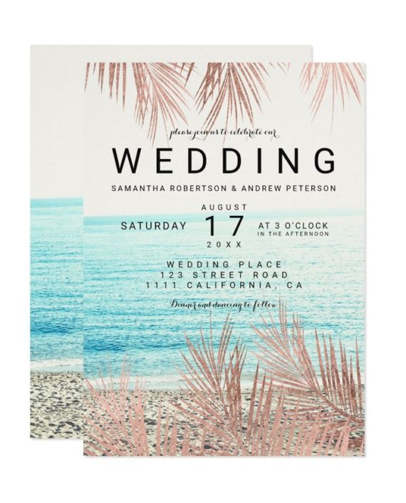 Modern rose gold palm tree elegant beach photo wedding invitation