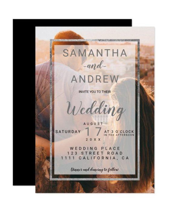 Modern silver monogram photo script wedding invitation